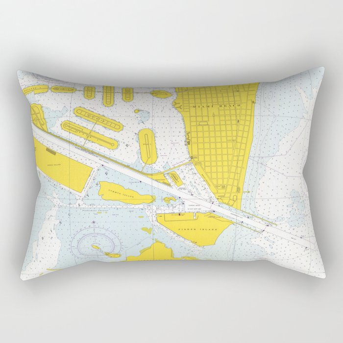 Vintage Map of The Miami Harbor (1968) Rectangular Pillow