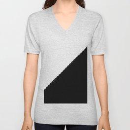 Contemporary black white colorblock lace stripe Unisex V-Neck