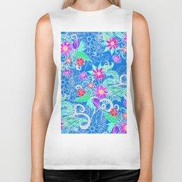 Bohemian Pink Blue White Girly Summer Floral Biker Tank