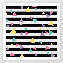 80's Black White Colorful Triangle Art Print