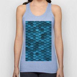 Beach house aqua blue mermaid fish Scales Unisex Tank Top