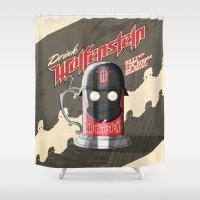 drink Shower Curtains featuring Drink Wolfenstein by Geekleetist
