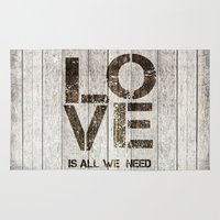 all you need is love Area & Throw Rugs featuring Love is all you need by LebensART