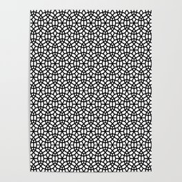 Round circles pattern geometric design white and black Poster