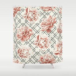 Simply Mod Diamond Roses in Cream and Black Shower Curtain