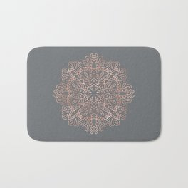Mandala Rose Gold Pink Shimmer on Soft Gray by Nature Magick Bath Mat