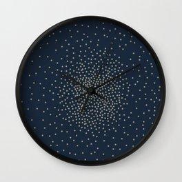 Dots Illusion - Gold and Navy Blue Wall Clock