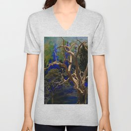 CONTEMPORARY BLUE  WILDERNESS ART  DESIGN Unisex V-Neck