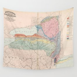 Vintage Geological Map of New York State (1870) Wall Tapestry