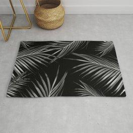Silver Gray Black Palm Leaves Dream #1 #tropical #decor #art #society6 Rug