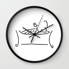 woman in the bath with duck Wall Clock
