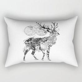 Deer Wanderlust Black and White Rectangular Pillow