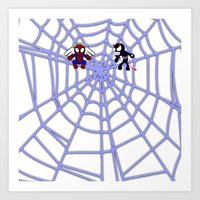 Spider-Angel vs. Venom-Devil on white Art Print