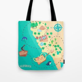 California Treasure Map Tote Bag