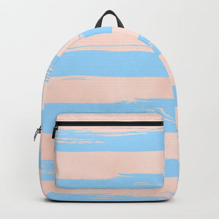 Trendy Stripes - Sweet Peach Coral on Blue Raspberry Backpack