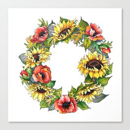 Sunflower Poppy wreath Canvas Print