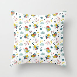 winter birds pattern Throw Pillow