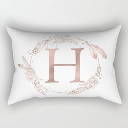 Letter H Rose Gold Pink Initial Monogram Rectangular Pillow