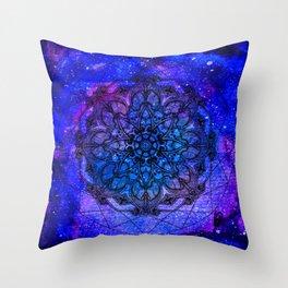 Anatomandala III x Watercolor Nebula Throw Pillow