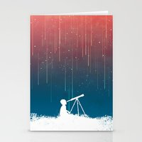 astronomy Stationery Cards featuring Meteor Rain (light version) by Picomodi