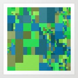 green and blue mosaic Art Print