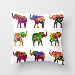 Bright&Bold RetroAfro Elephants Throw Pillow