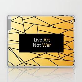 "Gold Fractal Art with black Sign ""Live Art Not War"" ( Luxury Vintage Collection ) Laptop & iPad Skin"