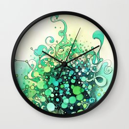 Visible Connections - Watercolor and Pen Art Wall Clock