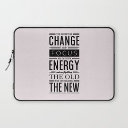 Lab No. 4 The Secret Of Change Socrates Life Motivational Quote Laptop Sleeve