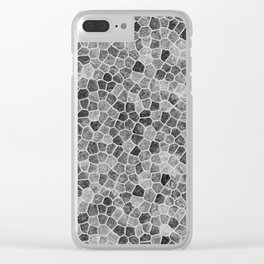 The Paths Taken Black and White Cobblestone Pattern Clear iPhone Case