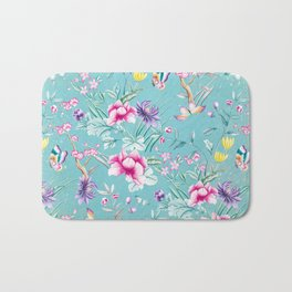 Pastel Teal Vintage Roses and Butterflies Pattern Bath Mat