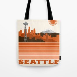 Seattle retro travel poster 70s color vibes minimal washington state gifts Umhängetasche