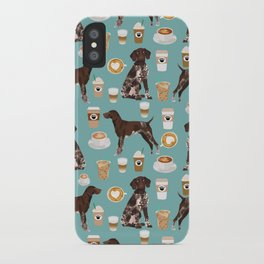 German Shorthaired Pointer Coffee Dogs - dogs and coffee, gsp, cute dog, pet, latte iPhone Case
