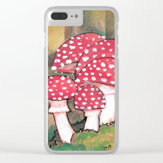 Mushrooms in the Woods Clear iPhone Case