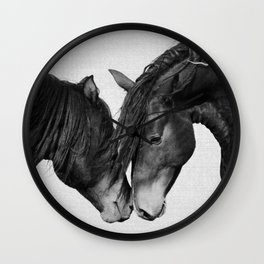 Horses - Black & White 4 Wall Clock