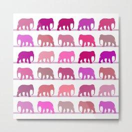Elephants Pink Metal Print