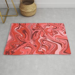 Red Stone Marbling Rug