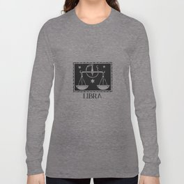 Libra Vintage Zodiac on Living Coral Long Sleeve T-shirt