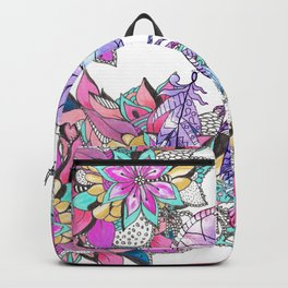 Colorful magenta teal watercolor dream catcher floral Backpack