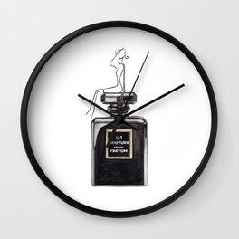 Black parfum with girl Wall Clock