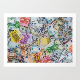 money texture. Euro and Dollars Art Print