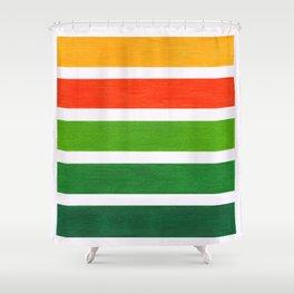 Orange & Green Geometric Pattern Shower Curtain