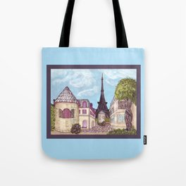 Paris Eiffel Tower inspired landscape painting by Kristie Hubler Tote Bag