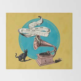 The Cat and the Song Cat (emerald) Throw Blanket