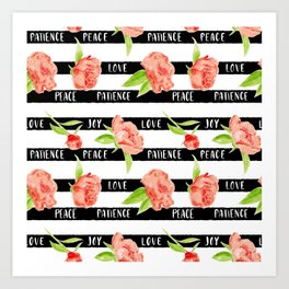 Fruit of the spirit - stripes with peonies Art Print