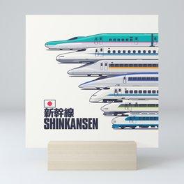 Shinkansen Bullet Train Evolution - White Mini Art Print