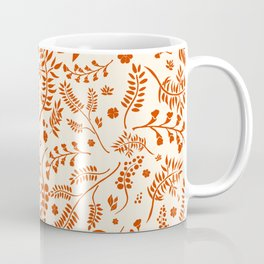 Botanical Floral Pattern with branches, leaves and berries in orange palette Coffee Mug