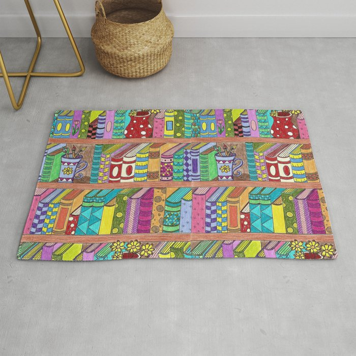 Colorful Books On Shelves Rug By