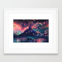 i love you to the moon and back Framed Art Prints featuring The Lights by Alice X. Zhang