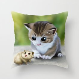 cute kitty and hamster Throw Pillow